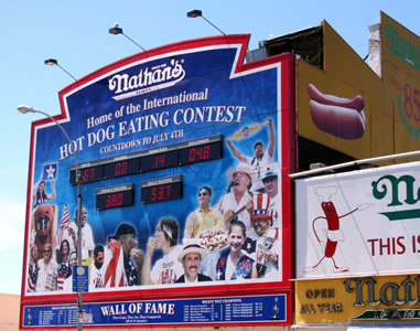 Hot Dog Eating Competition Sign Coney Island Beach