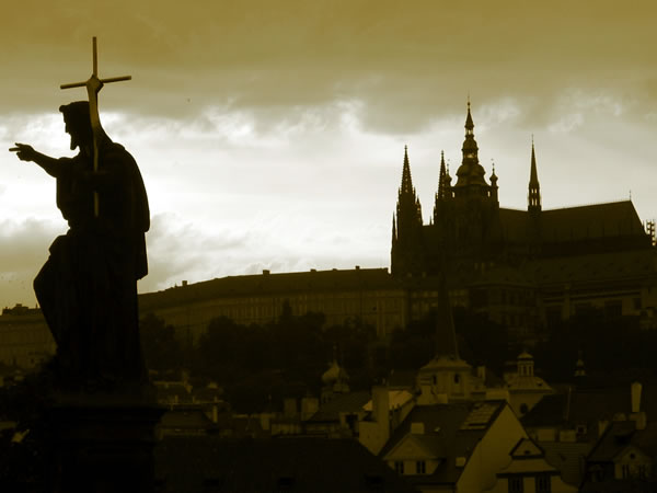 charles bridge sepia
